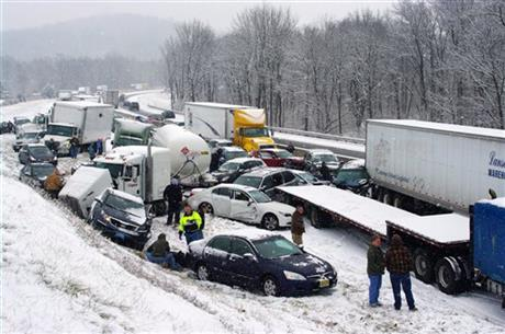 PILEUPS BLOCK TURNPIKE, INTERSTATE IN EASTERN PA.