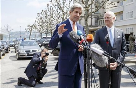 Kerry seeks path to calm in Syria, holds talks in Geneva